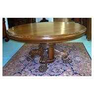 "Quarter Sawn Oak 60"" Round Table w Carved Pedestal Base"