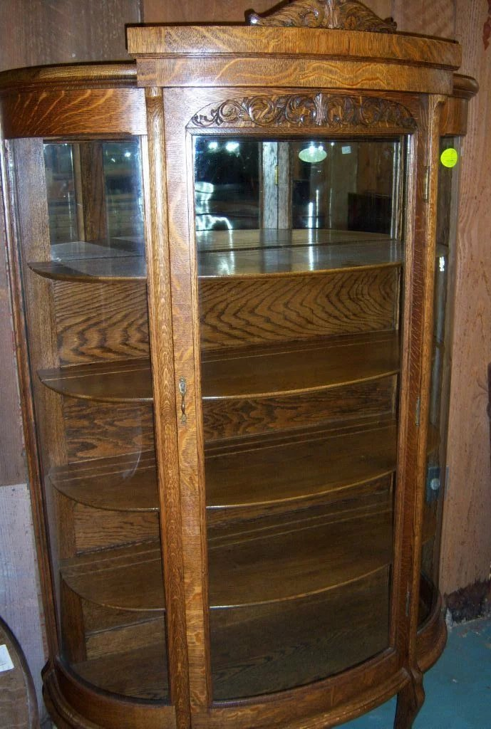 Oak Curved Glass China Cabinet Paw Feet Roberts