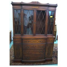 Mahogany Breakfront China Cabinet with Butlers Desk,Federal Hepplewhite Style