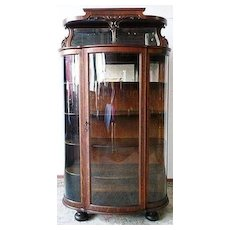 Oak Curved Glass China Cabinet w Hooded Mirror Top