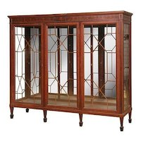 Mahogany China Cabinet or Bookcase, Inlaid Marquetry, Triple Door, Full Mirror Back