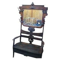 Oak Hall Tree Hall Seat, Large Beveled Mirror