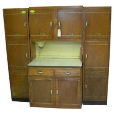 Oak, Sellers Brand Kitchen Work Center, Hoosier Type Cabinet
