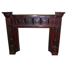 Fireplace Mantle with Overmantle, 13 feet tall, Carved, Cherrywood, Outstanding