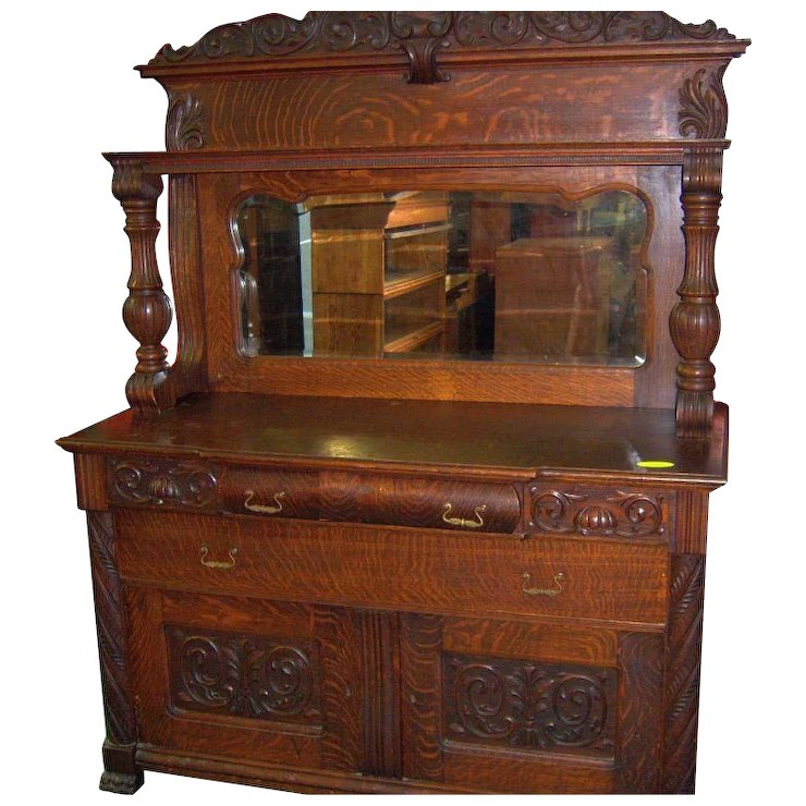 Oak Sideboard Buffet Mirror And Carvings 1890