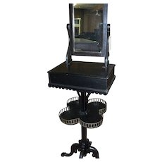 Ebonized Cherrywood Shaving Stand, Eastlake Victorian
