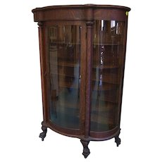 Oak Curved Glass China Cabinet with Round Columns and Paw Feet