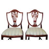 Mahogany Hepplewhite Sheraton Style Dining Chairs, Set of 8