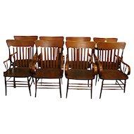 Oak Heywood Wakefield Arm Chairs Set of 8