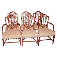 Mahogany Hepplewhite Sheraton Style Dining Chairs, Set of 6