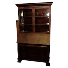 Mahogany Secretary Desk with Bookcase Top in the Federal Empire Style
