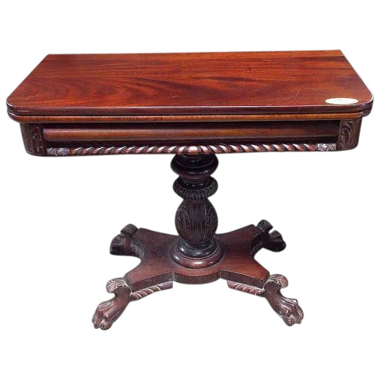 Mahogany Game Table Federal Empire Style