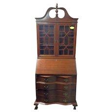 Mahogany Secretary Desk w Bookcase Top, Federal Chippendale Style