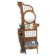Oak Victorian Art Nouveau Hall tree or Hall Seat
