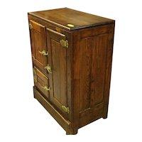 Chestnut Wood Three Door Wooden Ice Box with Brass Hardware
