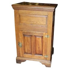 Oak and Chestnut Ice Box,  Lift Top with Single Front Door