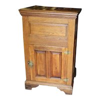 Oak and Chestnut Wood Ice Box, Lift Top, Single Front Door, Brass Hardware