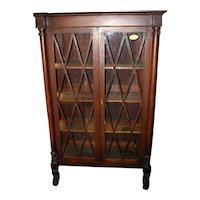Mahogany Federal Period Bookcase, Hairy paw feet, Diamond Pattern Door Mullions