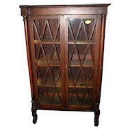 Mahogany Federal Period Bookcase, Hairy paw feet, Diamond Pattern Door Mullions