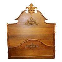 Walnut Victorian Bed, Carved Top Cartouche, Carved Nuts and Leaves