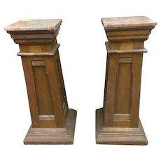 Chestnut early marble top pedestals