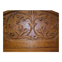 Oak Three Door Bookcase, Relief Carved and Shaped Top