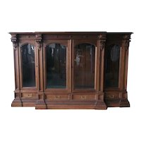 Walnut Four Door Victorian Library Bookcase