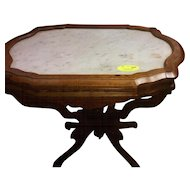 Walnut Victorian marble top lamp or end table