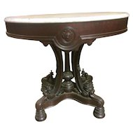 Rosewood Victorian Oval Marble Top Foyer Table Classic Styling