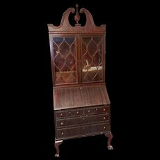 Mahogany Chippendale style secretary with bookcase