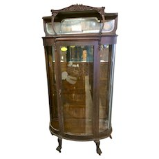 Oak Curved Glass China Cabinet with Hooded Top