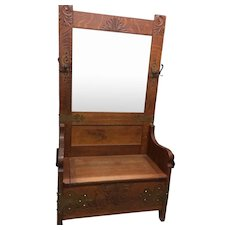 Oak Hall Tree or Hall Seat with  Foliage Leafy Carving and Brass