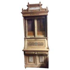 Walnut secretary w bookcase top