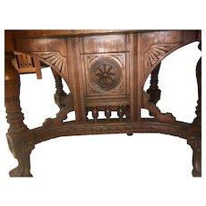 Walnut Victorian dining room table