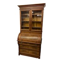 Walnut Victorian Cylinder Roll Secretary with Bookcase Top