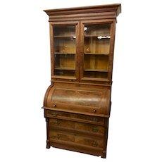 Walnut Victorian cylinder roll secretary