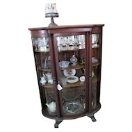 Oak Curved Glass China Cabinet with Columns and Claw Feet