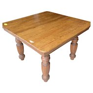 Square oak dining table with two leaves