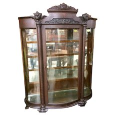 Oak Curved Glass China Cabinet Carved Faces Paw Feet