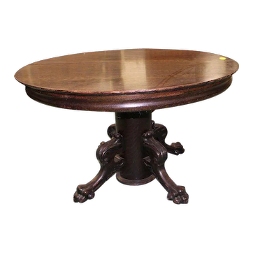 Round Oak Dining Table with Pedestal Base, Paw Feet, 4 Leaves