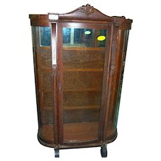 Oak Curved Glass China Cabinet, Columns, Carving, Scroll feet