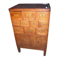 Oak File and Card Cabinet Macey or Globe Wernicke