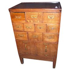Oak File and Card Cabinet Macey or Globe Wernicke