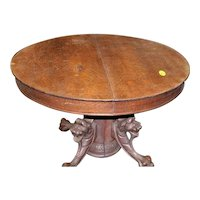 Round Oak Dining Table Lion Carved Pedestal Base