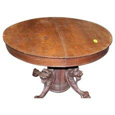 Round Oak Dining Table Lion Carved Pedestal Base