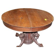 64141834c1fb Round Oak Dining Table Lion Carved Pedestal Base. Roberts Antiques    Restorations