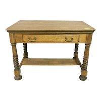 Oak Library Table or Desk, Spiral Turned Legs