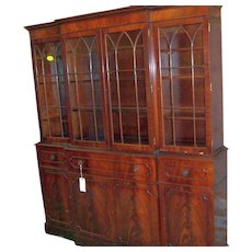 Mahogany Breakfront, Federal Sheraton Style 8 Doors, 3 Drawers