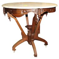 Walnut Victorian Marble Top Lamp Table with Carved Shaped Apron