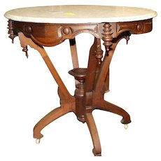 Walnut Victorian Marble Top Lamp Table